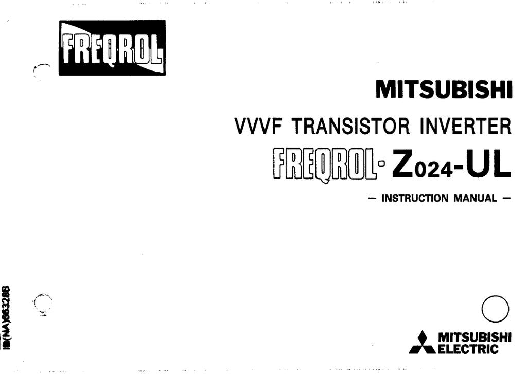 Mitsubishi Electric Freqrol Z024-UL Instruction manual
