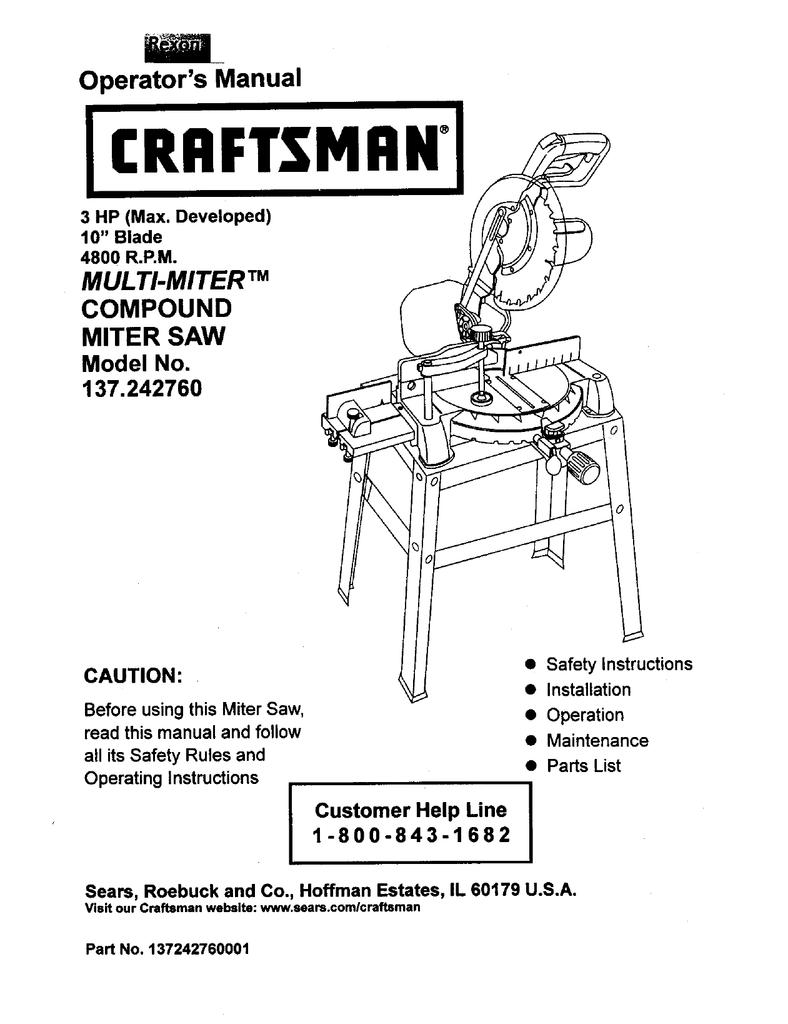 medium resolution of craftsman 137 242760 operator s manual
