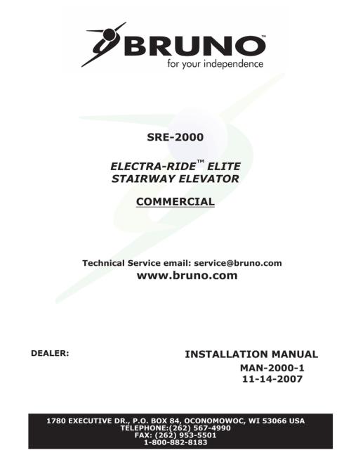 small resolution of bruno sre 2700 installation manual