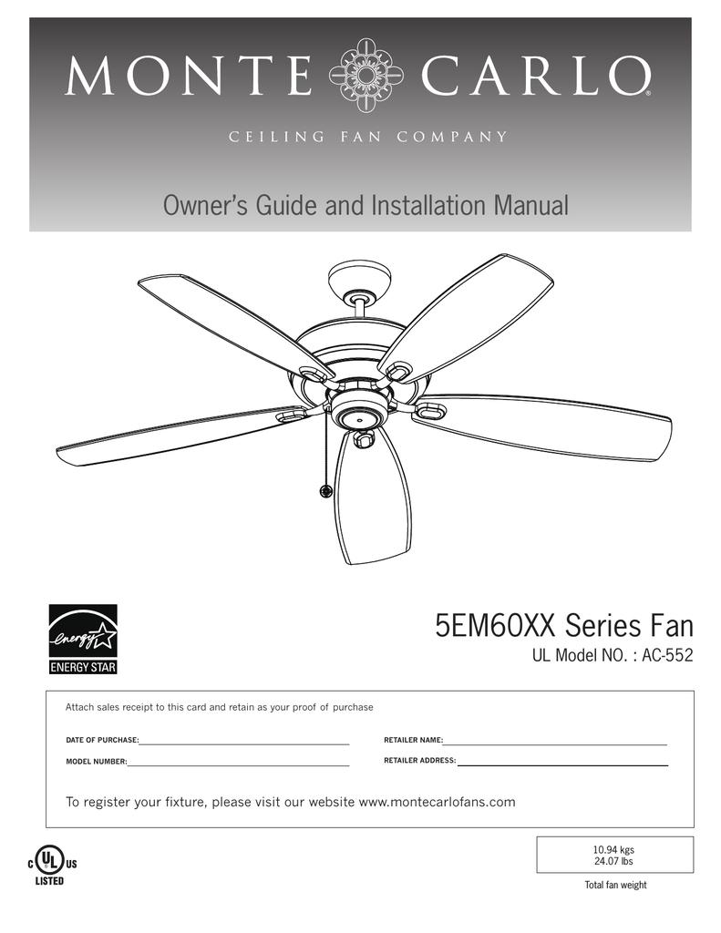 Ac 552 Ceiling Fan : ceiling, Monte, Carlo, Company, AC-552, Installation, Manual, Manualzz
