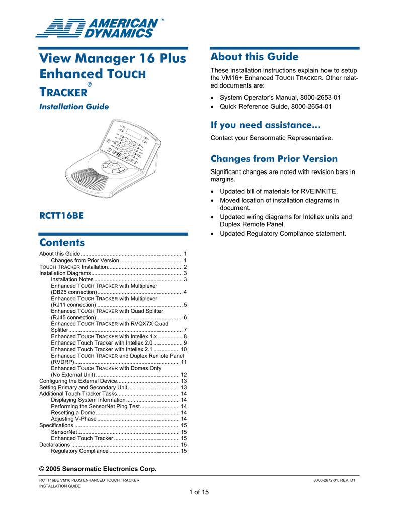 medium resolution of american dynamics rctt16be operator s manual