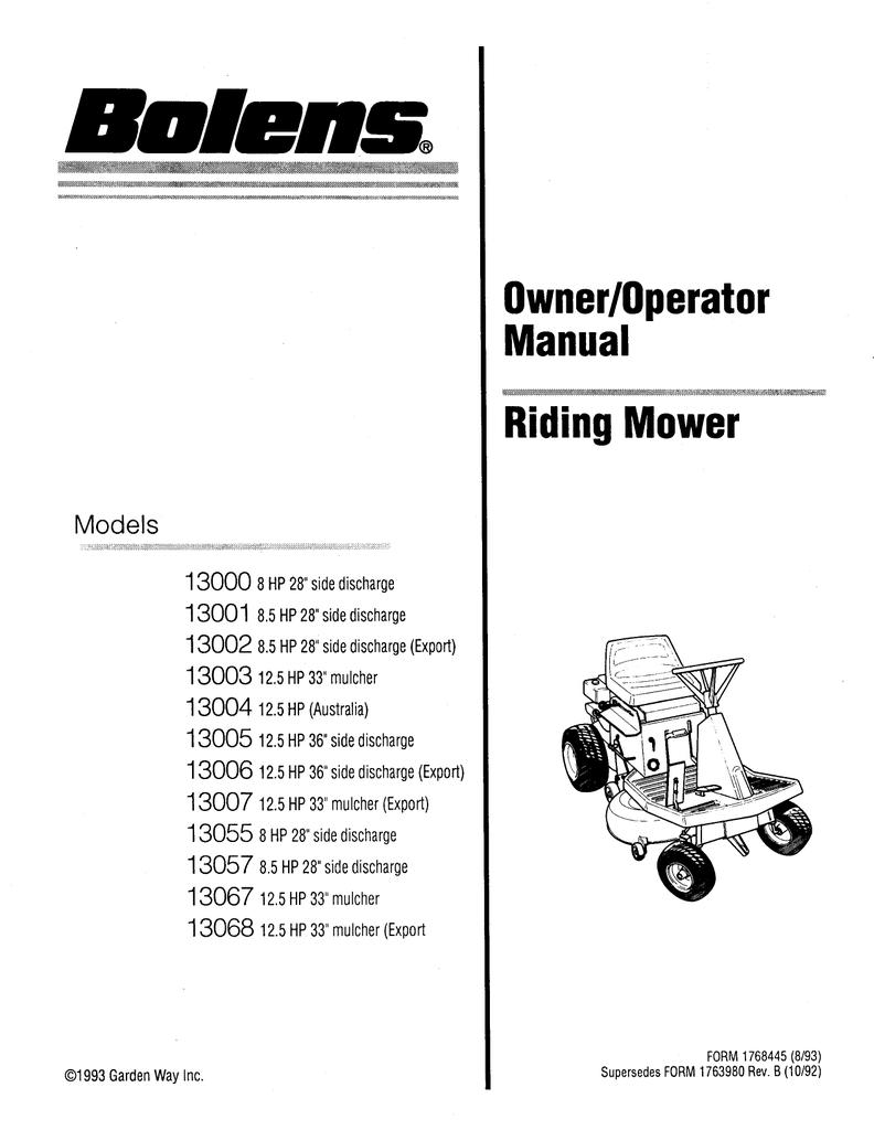 hight resolution of bolens 13004 specifications