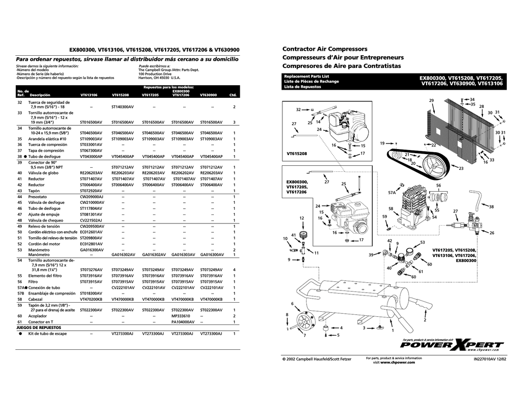 Campbell Hausfeld VT470200KB Operating instructions