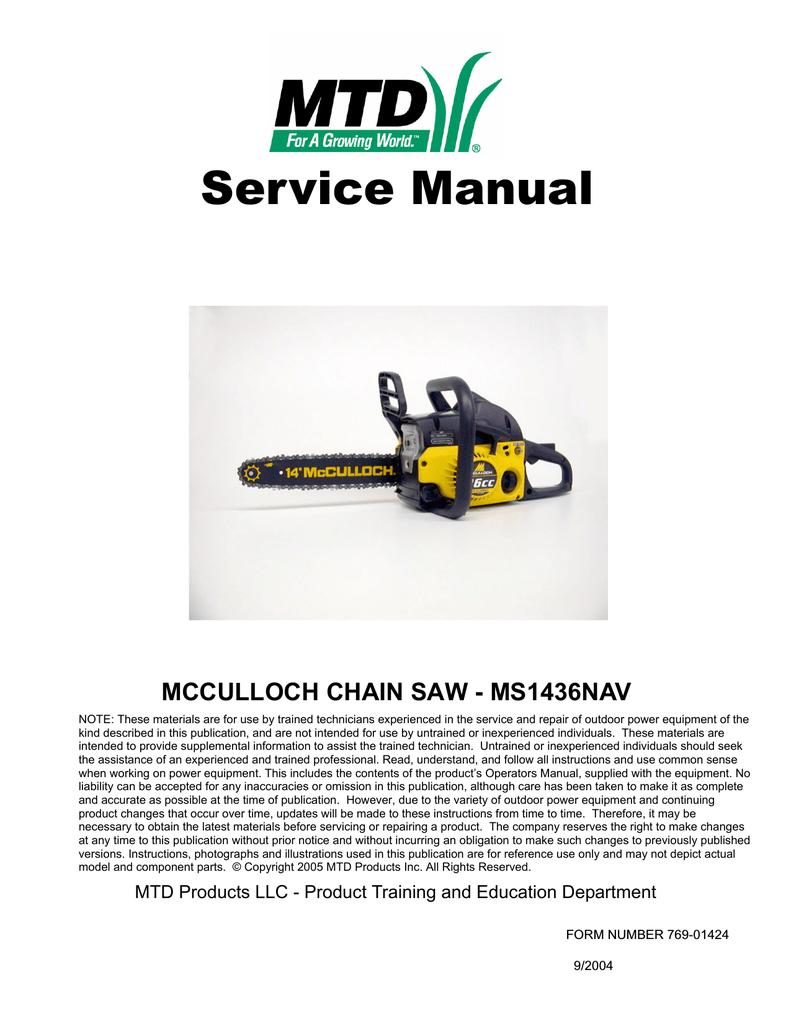 medium resolution of mcculloch ms1436nav service manual