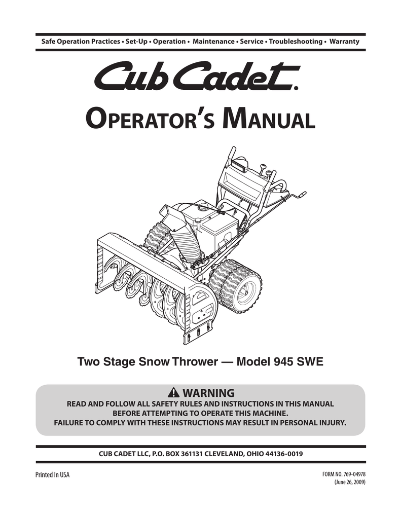 hight resolution of cub cadet 945 swe two stage snow thrower operator s manual