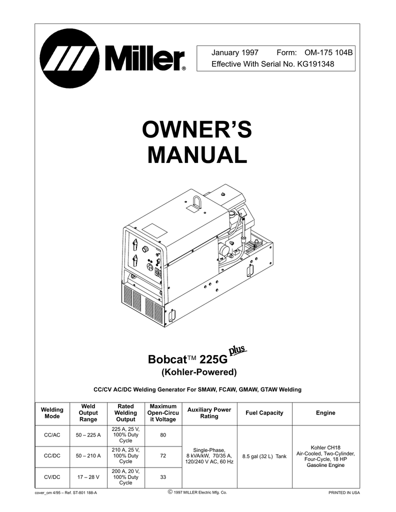 medium resolution of miller electric bobcat 225g owner s manual