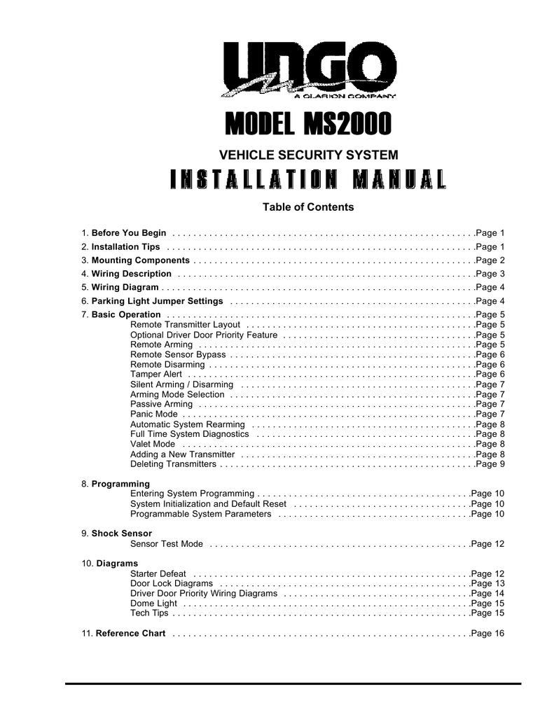 medium resolution of clarion ungo ms8300 installation manual manualzz com ungo car alarm wiring diagram