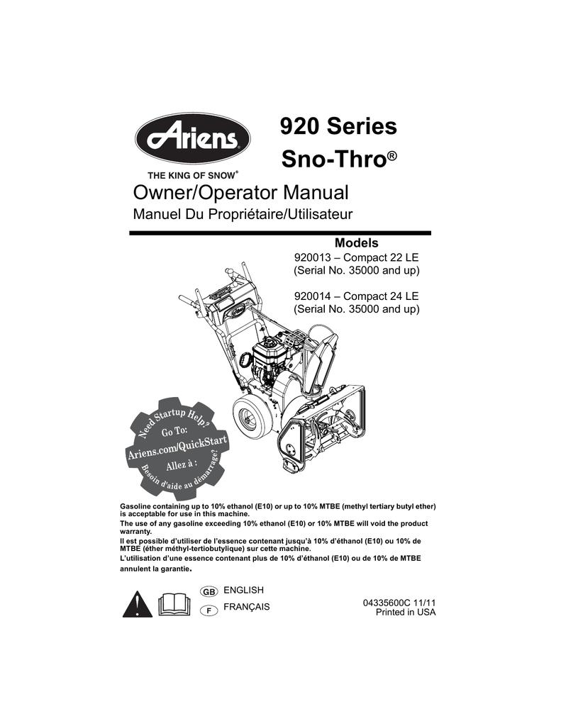 medium resolution of  ariens 920013 compact 22 le snow blower user manual manualzz com on ariens snow