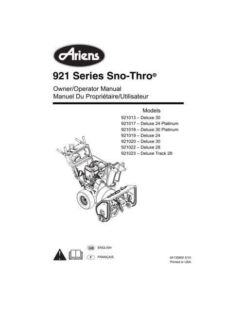 small resolution of  array ariens 921013 snow blower user manual manualzz com rh manualzz com