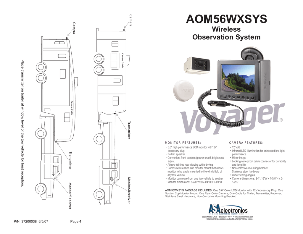 ASA Electronics AOM56WXSYS Security Camera User Manual