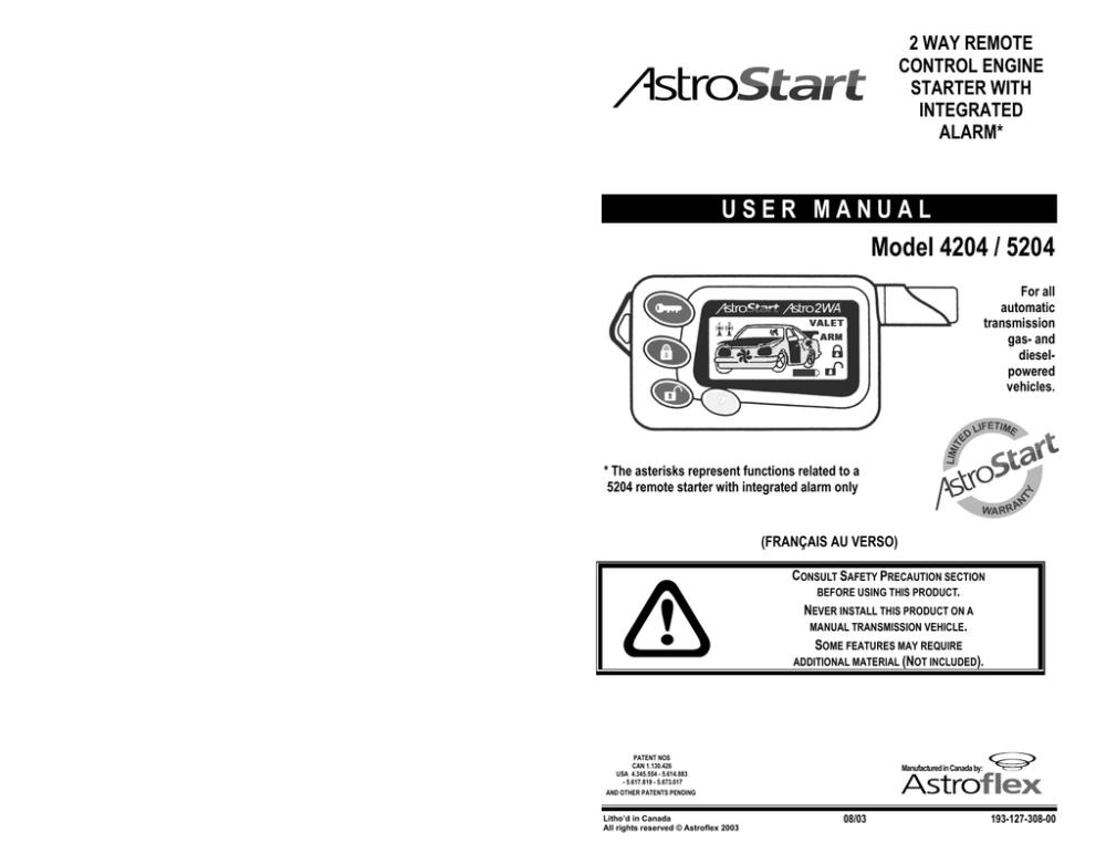 medium resolution of astrostart 5204 remote starter user manual