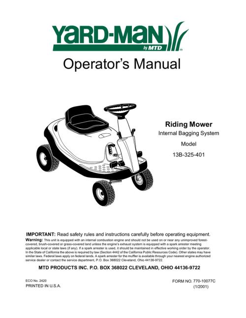 small resolution of bolens 13b 325 401 lawn mower user manual