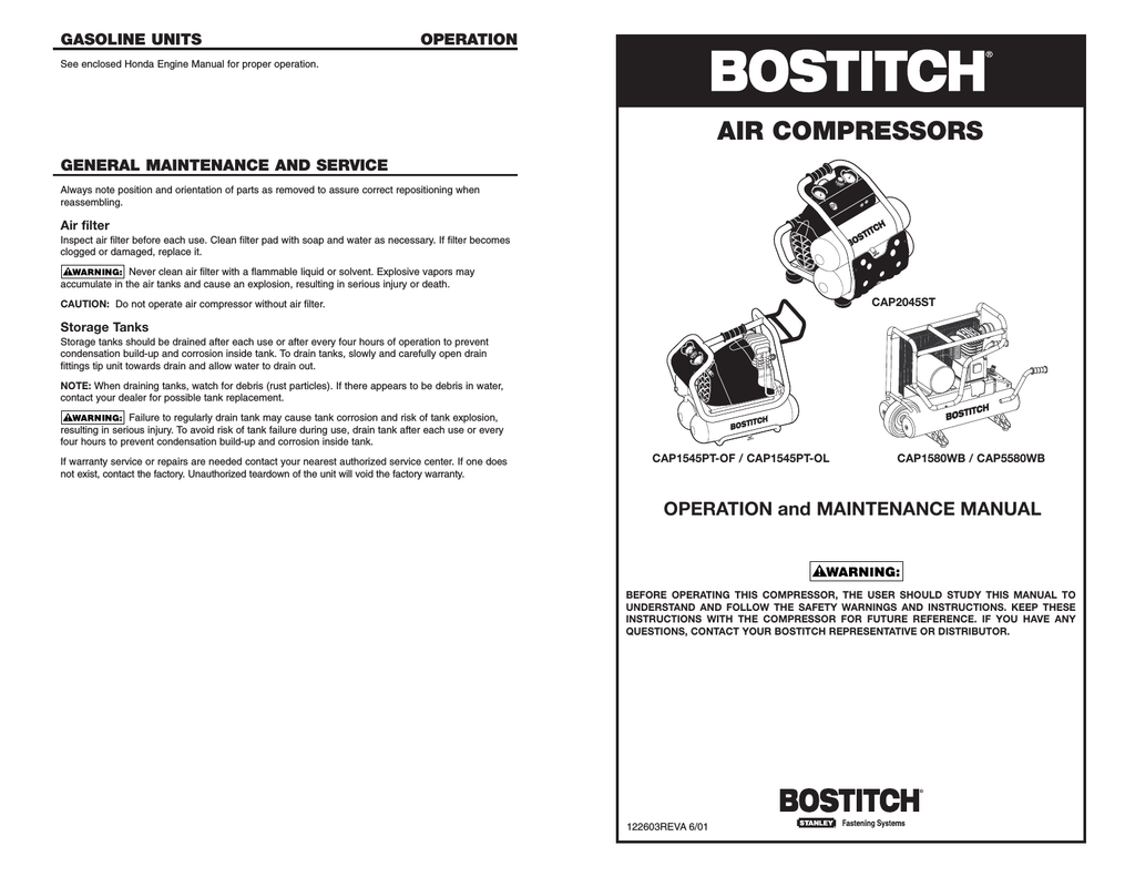 hight resolution of bostitch 122603reva 6 01 air compressor user manual