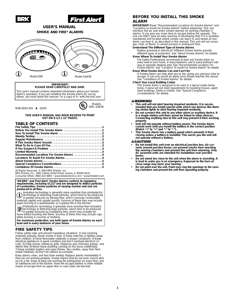 hight resolution of brk electronic 83r smoke alarm user manual