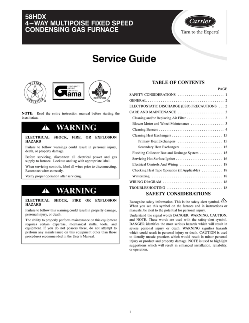 small resolution of carrier 58hdx furnace user manual