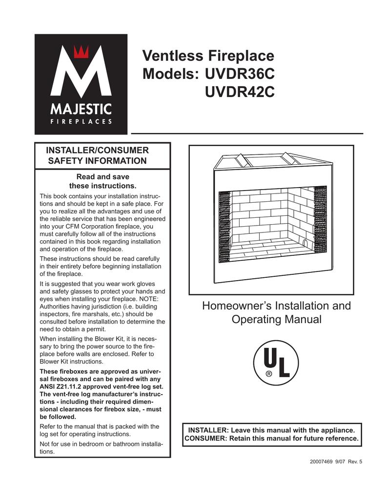 CFM Corporation UVDR36C Indoor Fireplace User Manual