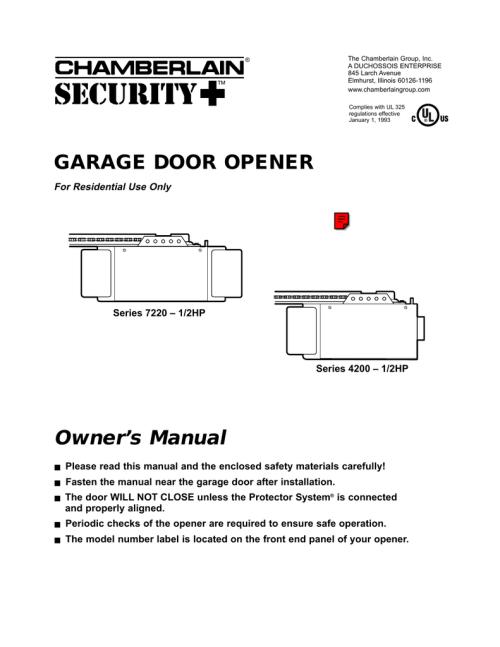 small resolution of chamberlain 4200 1 2hp garage door opener user manual