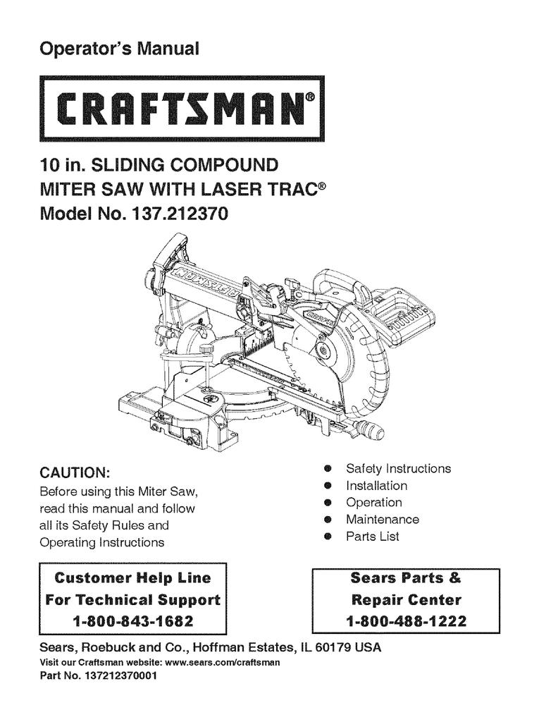 medium resolution of craftsman 137 21237 saw user manual
