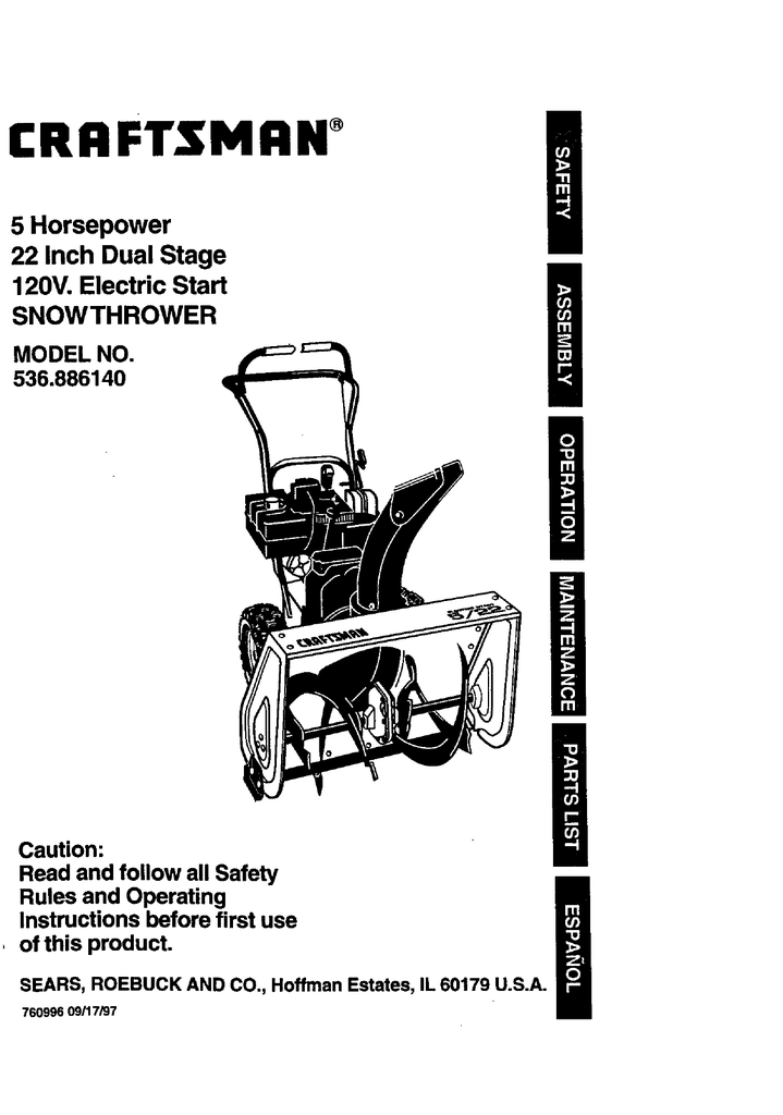 Craftsman 536.88614 Snow Blower User Manual