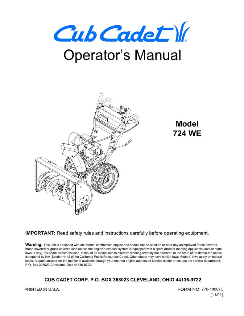 hight resolution of cub cadet 724we snow blower user manual