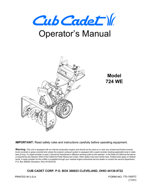 small resolution of cub cadet 724we snow blower user manual