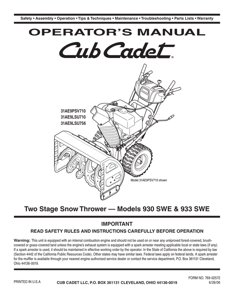 hight resolution of cub cadet 930 swe snow blower user manual