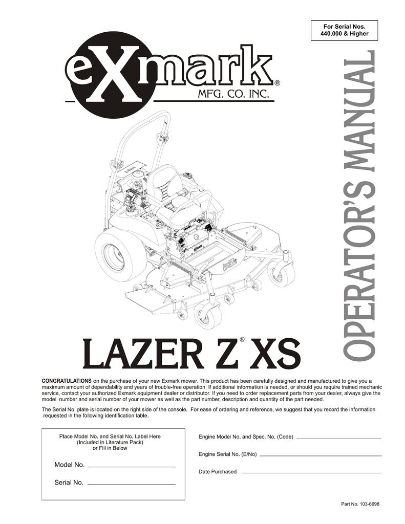 medium resolution of exmark lazer z xs lawn mower user manual manualzz com exmark seat parts diagrams