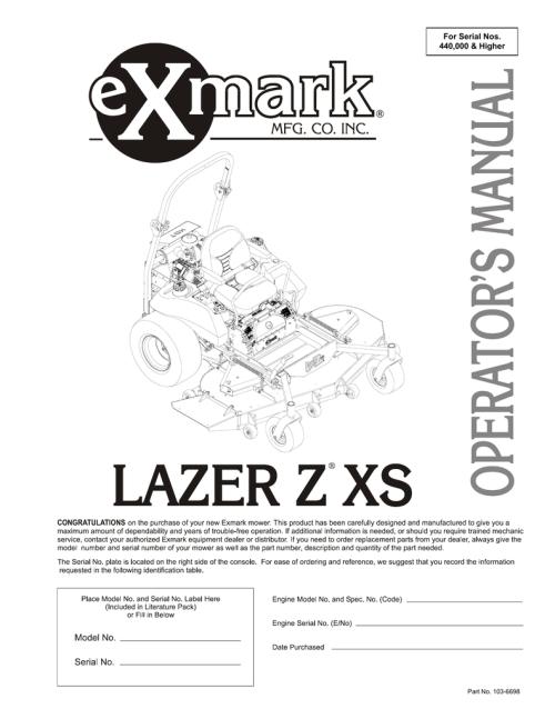 small resolution of exmark lazer z xs lawn mower user manual manualzz com exmark seat parts diagrams