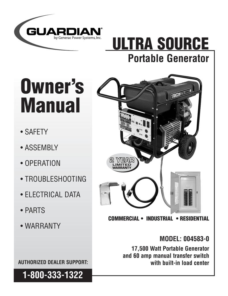 medium resolution of generac 004583 0 portable generator user manual