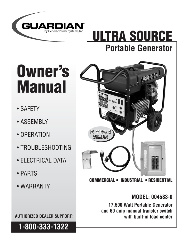 hight resolution of generac 004583 0 portable generator user manual