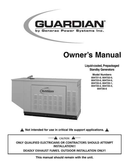 small resolution of generac 004721 0 004722 0 004723 0 004724 0 owner s manual liquid cooled prepackaged standby generators model numbers