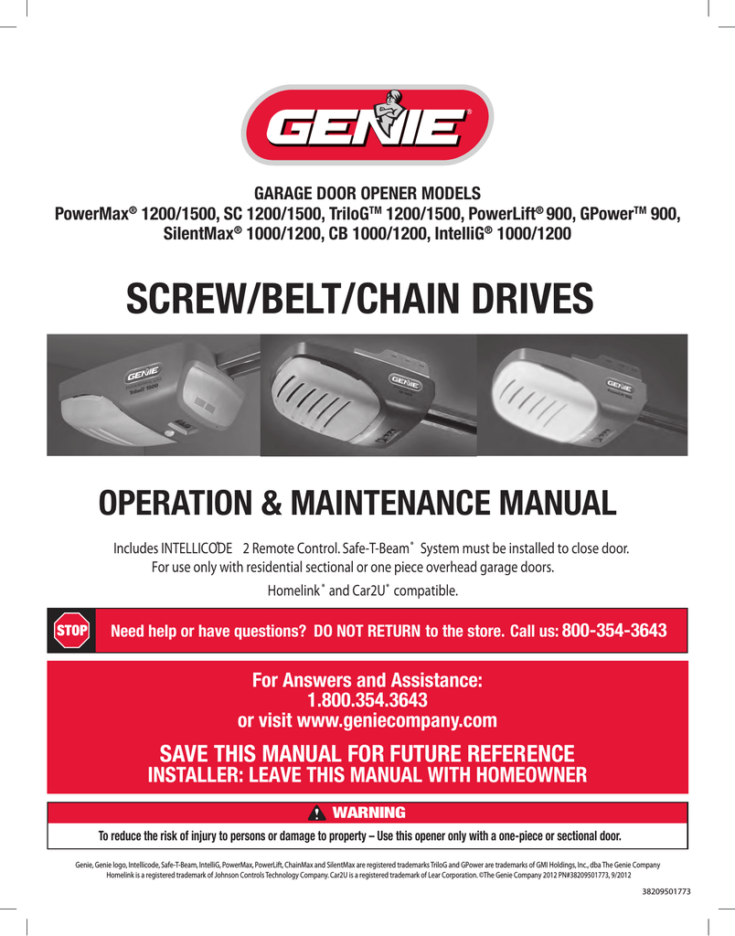 medium resolution of genie 1200 1500 garage door opener user manual manualzz com