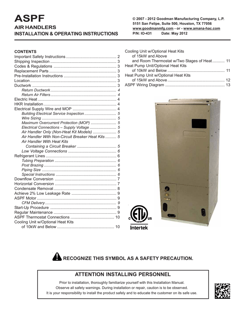 hight resolution of goodman mfg aspf air handlers wheelchair user manual
