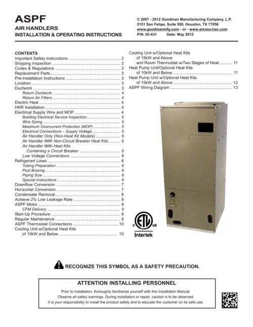 small resolution of goodman mfg aspf air handlers wheelchair user manual