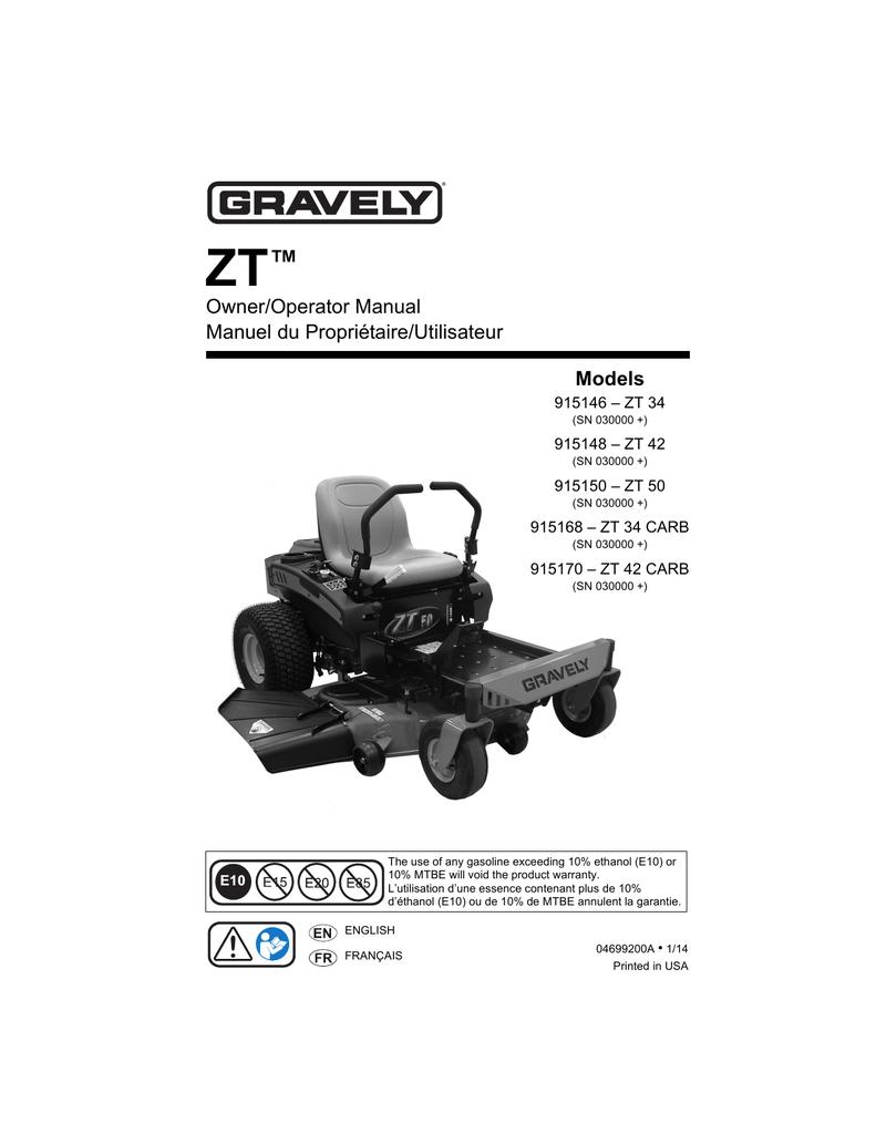 medium resolution of gravely 915146 zt 34 lawn mower user manual