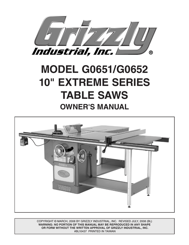 medium resolution of grizzly g0651 saw user manual