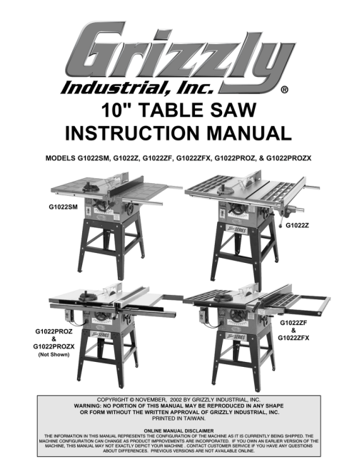 small resolution of grizzly model g1022proz saw user manual