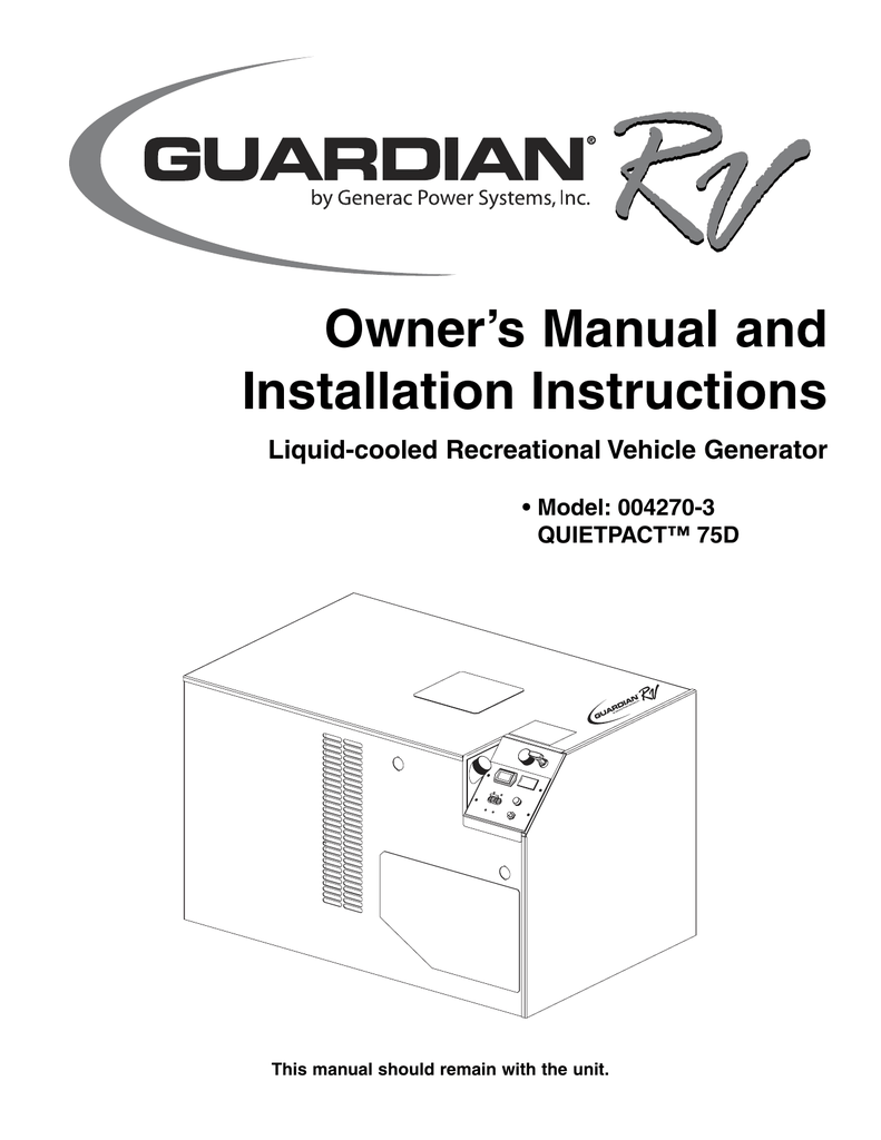 Guardian Technologies 004270-3 Portable Generator User