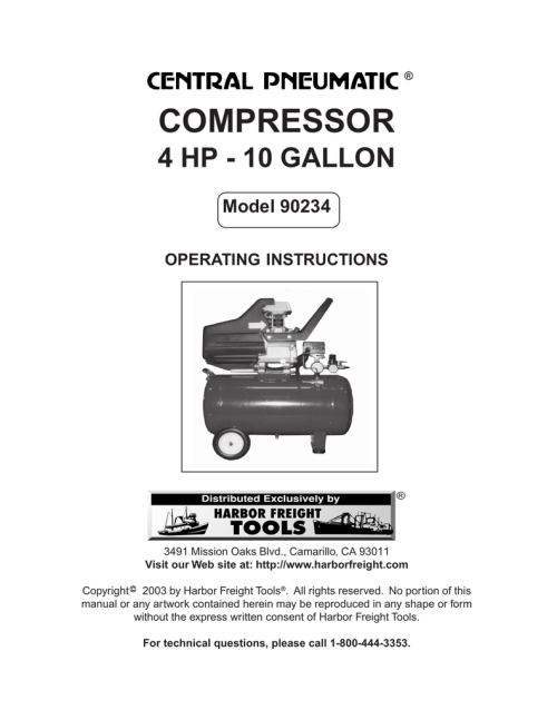 small resolution of harbor freight tools 90234 air compressor user manual