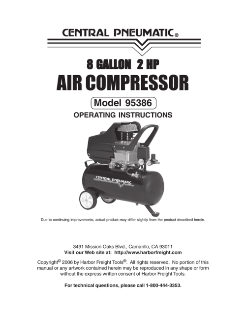 small resolution of harbor freight tools 95386 air compressor user manual
