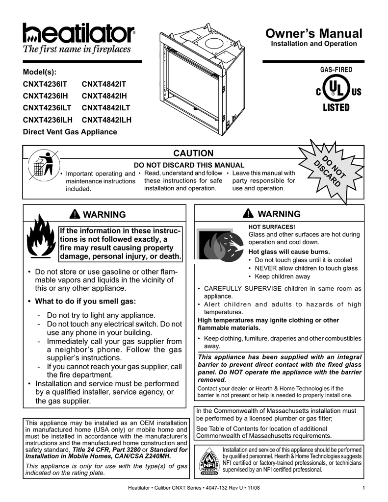 hight resolution of hearth and home technologies cnxt4842ilh indoor fireplace user manual