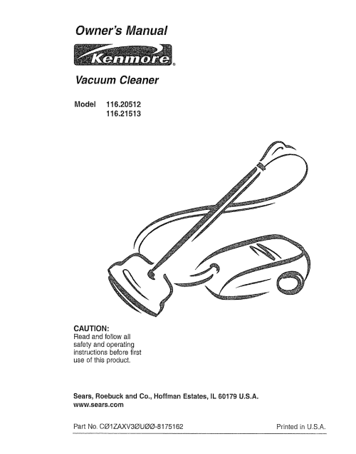 small resolution of kenmore 116 20512 vacuum cleaner user manual