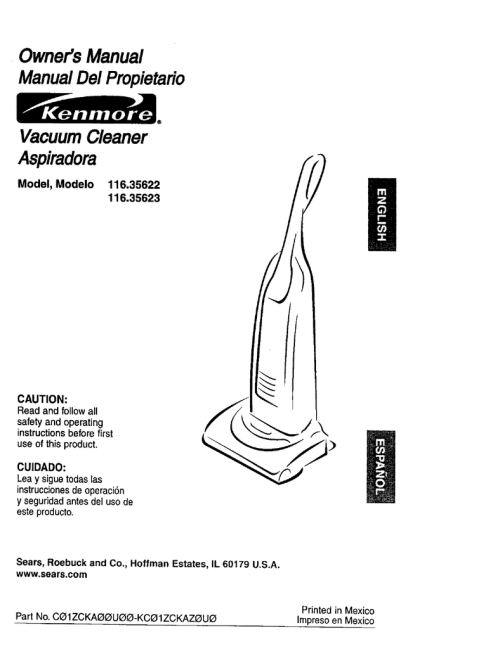 small resolution of kenmore 116 35622 vacuum cleaner user manual