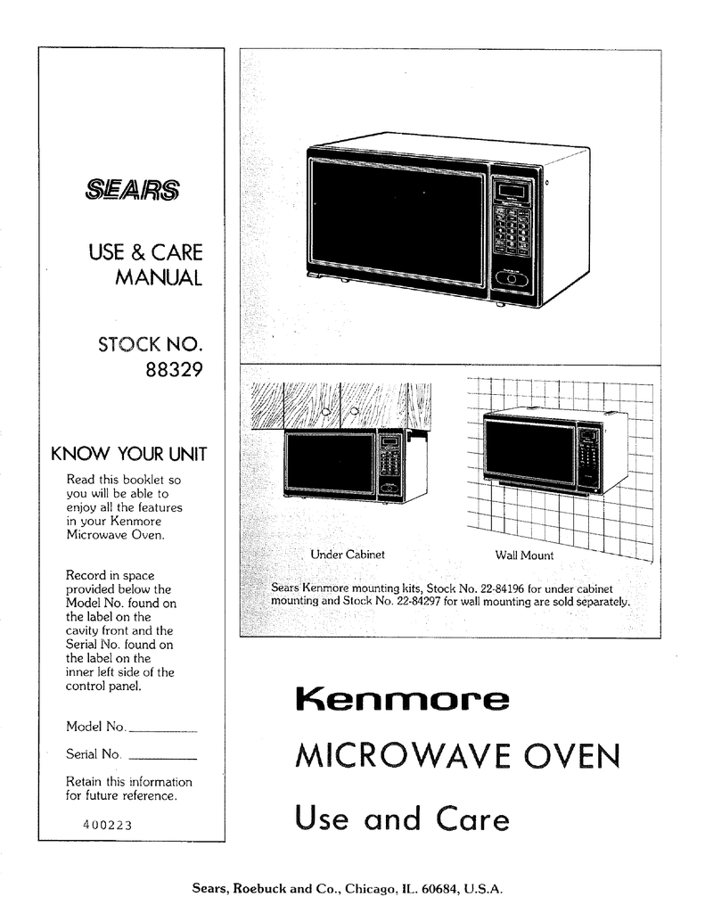 Kenmore Microwave Oven Manual