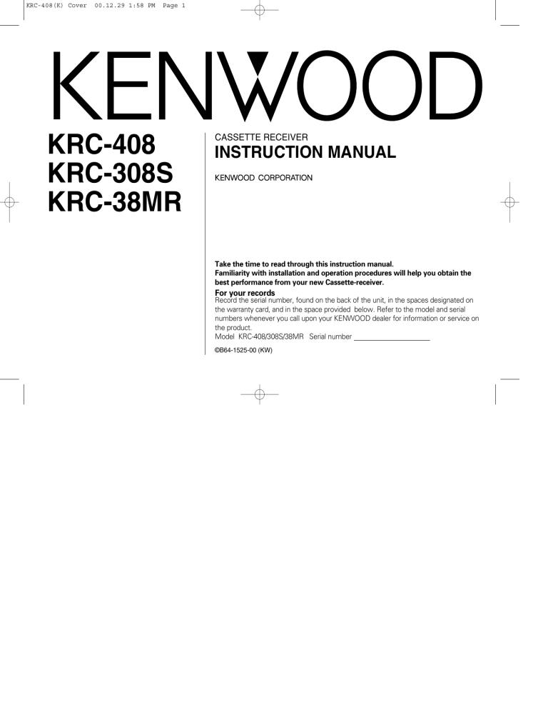 Kenwood KRC-308S Car Stereo System User Manual