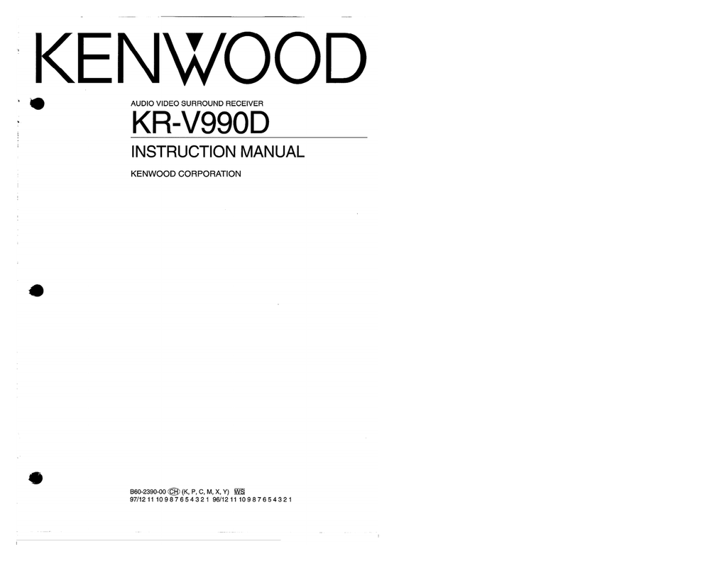 Kenwood Kr V990d Home Theater System User Manual