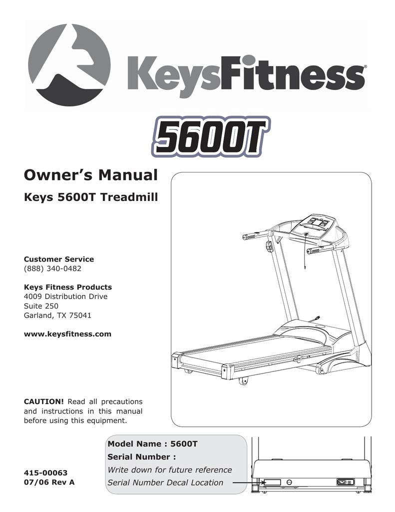 Keys Fitness Treadmill : fitness, treadmill, Fitness, 5600T, Treadmill, Manual, Manualzz