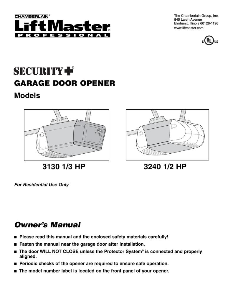 Liftmaster Professional 1 2 Hp Garage Door Opener Manual ...