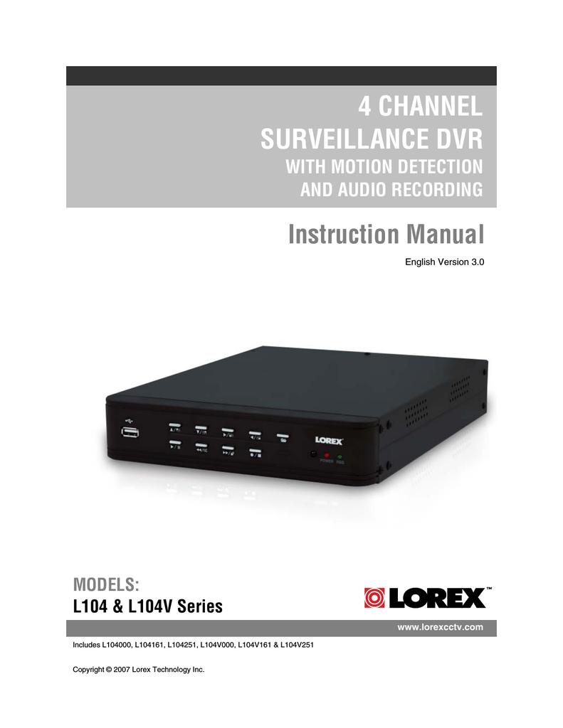 hight resolution of instruction manual lorex technology l104v series dvr user manual