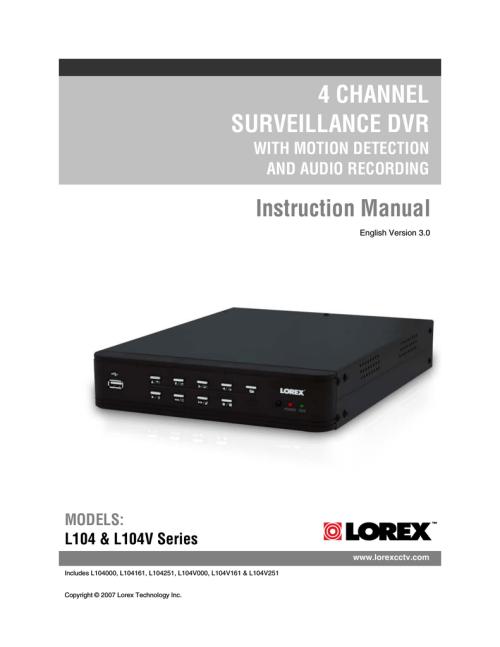 small resolution of instruction manual lorex technology l104v series dvr user manual
